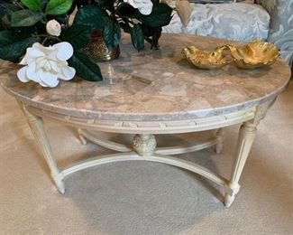 "3. Oval Coffee Table w/ Stone Top and Carved Base (34"" x 21"" x 19"")"