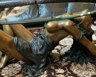 """48. Bronze """"Reclining Lady"""" Coffee Table w/ Beveled Glass Top  (43"""" x 28"""" x 17"""")"""