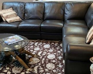 """45. Leather Sectional 2pc (92"""" x 118"""" x 37"""" x 38""""h)"""