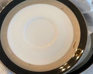 Porcelain china white gray and black service for 12 with extra pieces