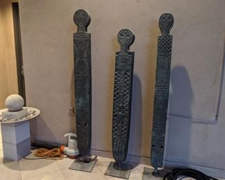 "Three ""Vignangos"" African fertility statues 71""tall, $975 76""tall, $1100 78""tall $1200 or $2950 for all 3"