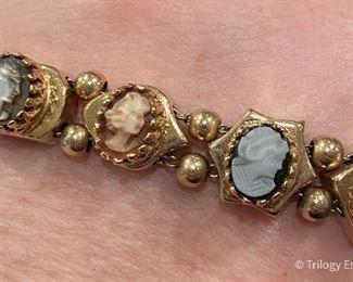 Victorian style (not antique) 14k gold cameo slide bracelet. $1,250