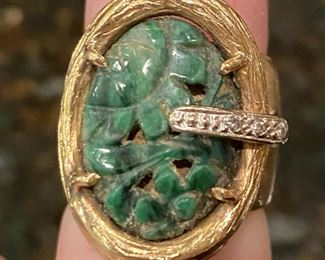 14k gold ring with carved jade. $625