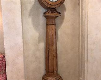 """Late 18th Century early 19th century English style -Probably of Scottish origin Grandfather clock with rare columnar shape. Made of fruitwood. Dimensions 102""""x11""""x28"""" - Price $12,000.00"""