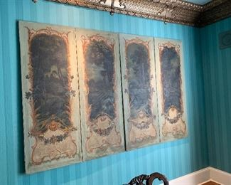 French hand painted wall panels $2200 each set of 2