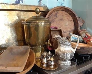 Brass and wood items