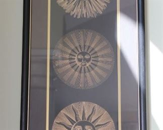 """#4. $30.00.  Black with gold sun picture 32.5"""" X 14.5"""""""