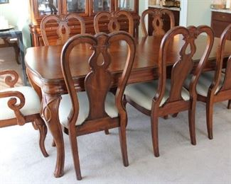 """#1    $800.00. Dining table 8 chairs 2 leaves  Photo doesn't include 2nd leaf it was found after photographed Table 30""""h X 84""""w X 44"""" this is with one 12"""" leaf in"""