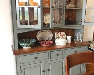 Shaker 3 Door China Cabinet atop a 3 door shaker buffet in an Ocean Color-the stain is Heritage Ginger and the knobs are Antique Brass.  Original purchase price was $4699.00, photo following.  Sale price starting at $$1600