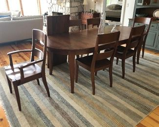 "Cherry Heritage Russet Finish 44"" x 72"" (with 2 leaves measuring 20"" each).  2 Dunbard Side Chair in Heritage Russett cherry Finish and 2 Arm Chairs in same style and finish.  Original invoice was $4500.00 in 6/2018.  Starting price at sale, $1600"
