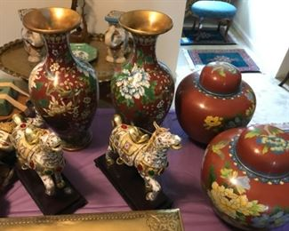 Cloisonne' vases and ginger jar, and porcelain decorated horses on wood base.
