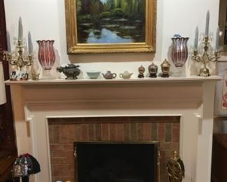 Beautiful decor including art glass, original art by Ann Pass, and very old brass dragon pot.