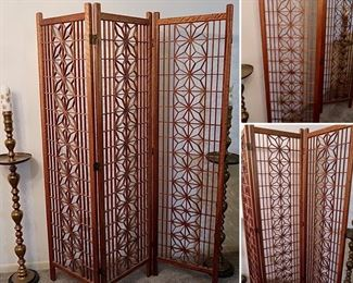 "#15 - MCM Teak Screen - $275.00 - Each Panel 70"" x 18""(one small wood piece missing on first panel)"