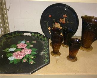 vintage trays, Indiana glass Sweet Pear pitcher & glasses in Burnt Honey