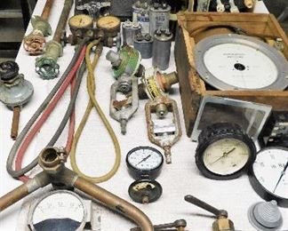 Old gauges, iron and copper fittings and more that can be used by a metal artist to create Steampunk or other forms of metal sculpture!