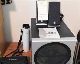 Logitech Z-2300 speaker system. Barska binoculars.