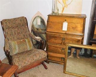 Vintage platform rocker. Antique mirror. Secretary/chest.