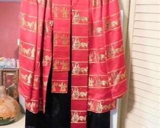 1950s Chinese silk jacket, sash and skirt