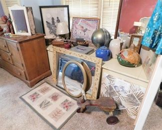 Miscellaneous stuff! Antique mirrors, blue crockery pot, old wooden riding toy, old medicine cabinet, etc.