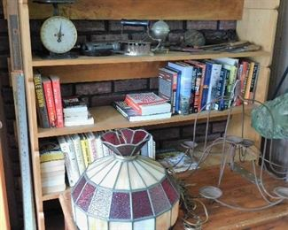 Primitives, books on WWII, vintage stained/slag glass light fixture.