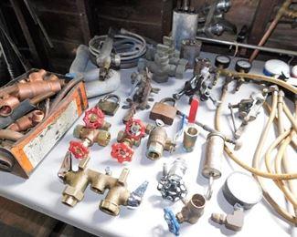 Copper piping, shut off valves, brass hose bibbs. etc.