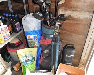 Golf clubs with bag, Shagster ball retriever, golf balls, lots of 10W-30 motor oil, nice oversized bag chair.
