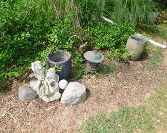 Concrete garden statue, two slag buckets from a copper foundry, cast iron garden lantern.