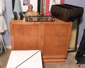 Mid Century Modern oak 3 drawer chest. MCM triangle tables; iron and Formica. Hand crafted Hawaiian Koa wood tray and hula doll.
