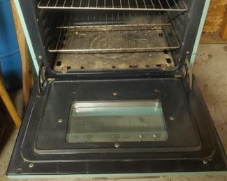 inside antique aqua blue stove/oven