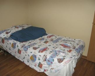 Twin bed frame, mattress with bedding $30