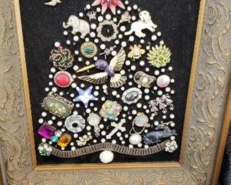 Framed handmade jeweled tree