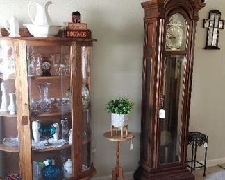 Oak bow front curio, Westminister grandfather clock