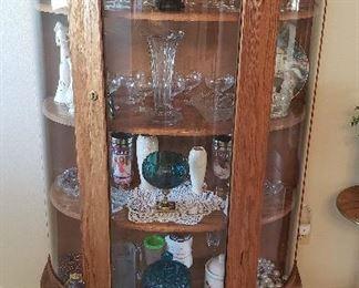 Oak curio, glassware