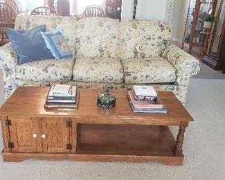 Lazy Boy floral sofa, coffee table