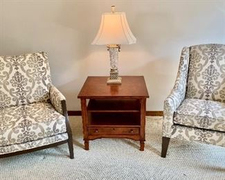Ethan Allen Furniture   Matching upholstery chairs $450ea (Still available at store) End table $185