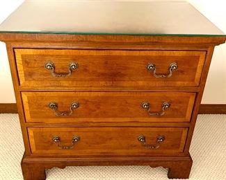 Henredon Burled Wood 3 Drawer Chest w/ glass top 32w x 18d x 30h $185