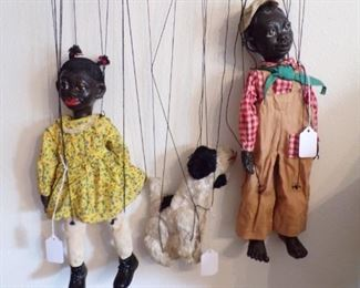 1938 Effanbee black americana (Lucifer) marionette and Poochi the dog