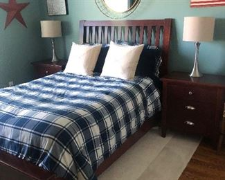 FULL BED FRAME, TWO NIGHT STANDS, LAMPS, MIRROR