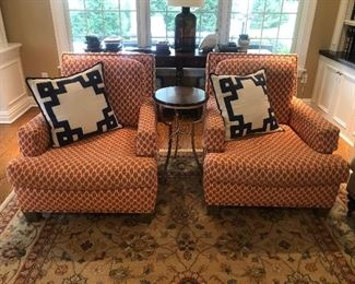 TWO CUSTOM UPHOLSTERED OVERSIZED CHAIRS      34W X 40D X 36H
