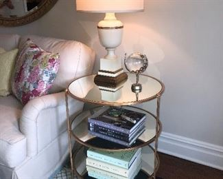 3-TIER TABLE WITH MIRROR SHELVES BY LEMMON HILL. (TWO)