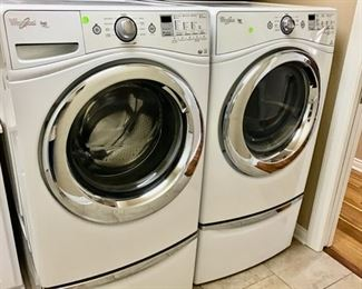 Whirlpool Duet Front Load Washer and Dryer and 2 Storage Bases