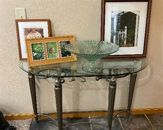 Beveled glass top table on classic base, Framed James Keating photos & Footed bowl from Spain