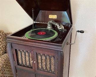 The phonograph, Ca. 1920.  Has record storage in the base (empty)