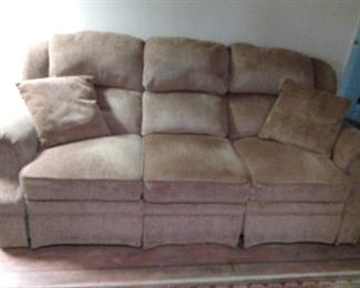 Chenille Fabric Dual Recliner Sofa