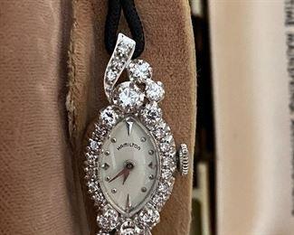Lady Hamilton 14k and diamond watch