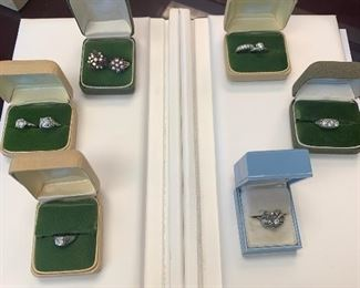 Platinum, Gold and diamond rings.  Currently being appraised. Will have better photos soon