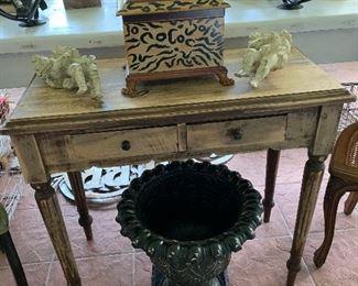 Antique Table Metal Pot Leopard Box