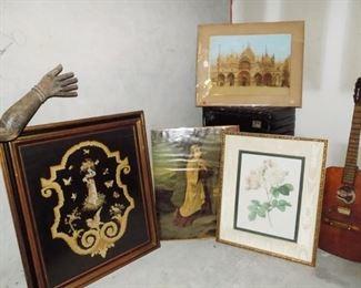 Antique Needlepoint, Antique Print, Colored Print, Floral Artwork