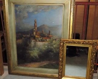 Antique Oil Painting. Antique Gilded Framed Mirror.