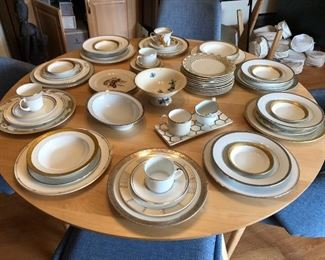 mixed array of Pickard, Bernardaud, Limoges, etc. china pieces - No complete sets, but a fun mix & match set of coordinating white. cream, gold, silver - stunning!